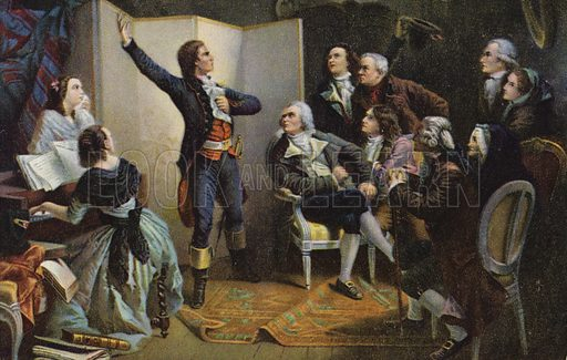 Claude Joseph Rouget de Lisle singing La Marseillaise. Composer of the French national anthem (1760-1836). Painting by Isidore Pils (1813-1875). Postcard published by Stengel & Co, Dresden, Germany.