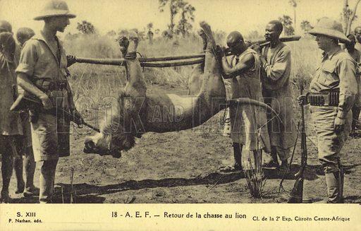 Return of the lion hunt. Postcard published by Cl de la 2e Exp. Citroen Centre-Afrique.