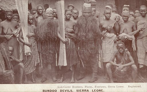 Bundoo Devils, Sierra Leone. Ethnographic postcard from the early twentieth century with photograph by Lisk-Carew Brothers, Freetown, Sierra Leone.
