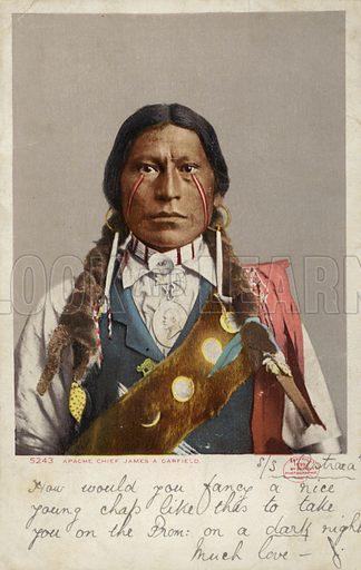 Apache Chief James A Garfield. Postcard from 1899.