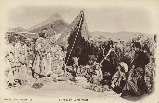 Camp at Biskra, Algeria. French postcard from the early twentieth century.