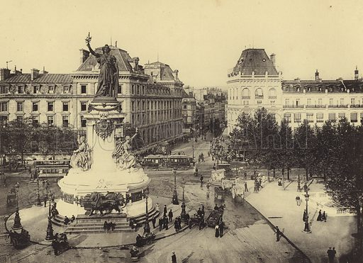 Rue Du Temple, Place De La Republique. Illustration for Paris & Versailles (Heliotypes de E Le Deley, c 1910).