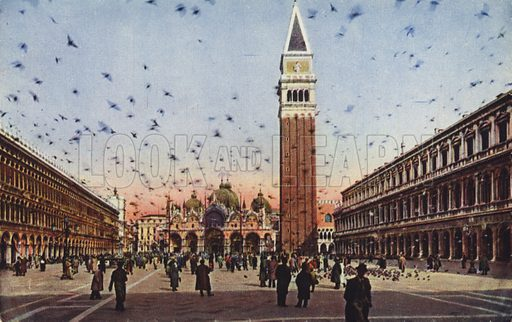 Postcard depicting a general view of Piazza San Marco, in Venice, Italy