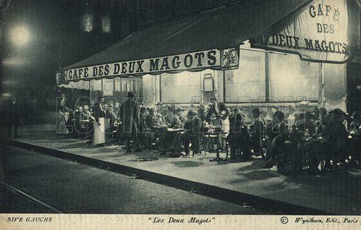 Postcard depicting Le Cafe des Deux Magots on the Left Bank in Paris, France.