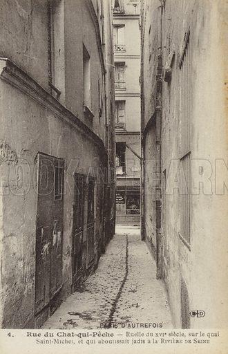 Postcard depicting old Paris, showing the Rue du Chat-qui-Peche, in Paris, France.