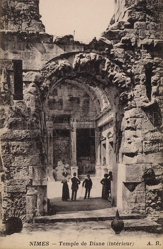Postcard depicting the interior of the Temple de Diane, in Nimes, France.