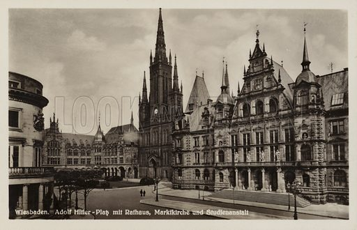 Postcard depicting the city hall, market, church and academic institution in Wiesbaden, Germany.