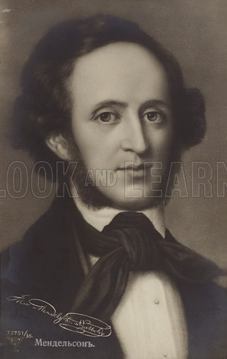 Portrait of  Felix Mendelssohn, German composer, pianist, organist and conductor.