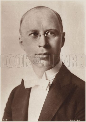 Portrait of Sergei Prokofiev, Russian composer, pianist and conductor. Photo by Lipitzki.