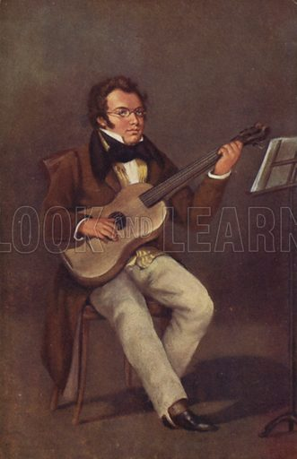 Portrait of Franz Schubert, Austrian composer.