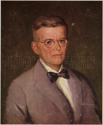 Portrait of Dmitri Shostakovich, Russian composer and pianist.