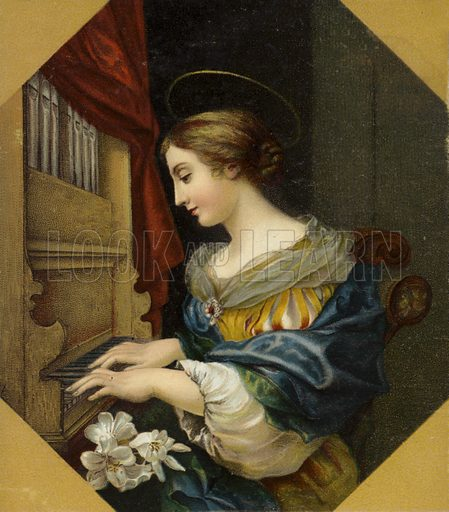 Saint Cecilia playing the organ. Saint Cecilia is the patron saint of musicians.