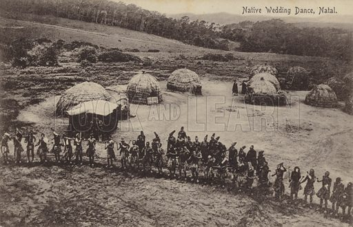 Postcard depicting a native wedding dance in Natal, a region of South Africa.