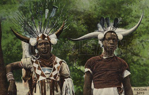 Postcard depicting two male Zulu Ricksha drivers