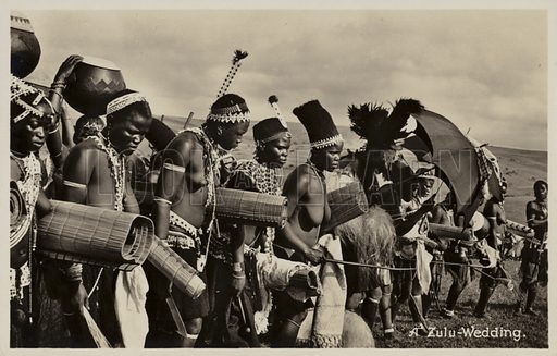 Postcard depicting a Zulu wedding, in South Africa.