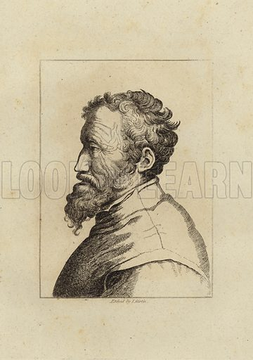 Michelangelo di Lodovico Buonarroti Simoni. 6 March 1475 – 18 February 1564. Italian Renaissance sculptor, painter, architect, poet, and engineer. Etched by I Girtin. Girtin's Painter's Proof published in 1817.
