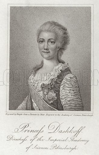 Princess Dashkov; full name Yekaterina Romanovna Vorontsova-Dashkova (1743–1810). Major figure of the Russian Enlightnement and first woman to head a national academy of sciences, the Imperial Academy of Arts and Sciences.