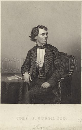 John Bartholomew Gough (1817-86).English orator and temperance advocate, moved to the States afer his fathers' death. Engraved by D J Pound.