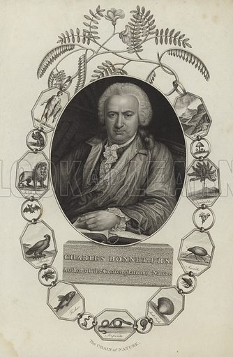 Charles Bonnet (1720–1793). Swiss naturalist and philosophical writer. Author of Contemplation of Nature. Engraved by James Caldwall.