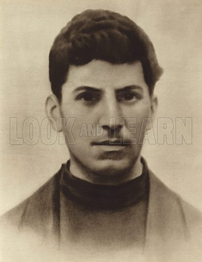Joseph Stalin at the age of 17, while attending the Tbilisi seminary, Georgia, 1896. Illustration from a Bulgarian propaganda book on the life of Stalin (State publishing house Science and Art, Sofia, c1949).