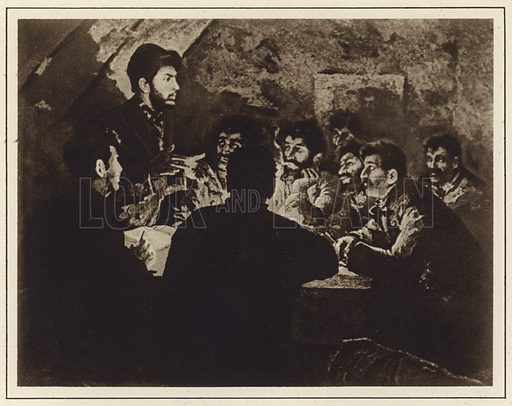 Joseph Stalin leads the meeting of the Workers' Socialist Democratic Organisation in Tbilisi, Georgia, in 1898. Illustration from a Bulgarian propaganda book on the life of Stalin (State publishing house Science and Art, Sofia, c1949).