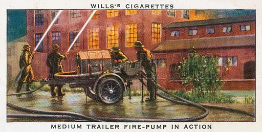 Medium trailer fire-pump in action. Cigarette card, from series on Air Raid Precautions, published by Wills, 1938.
