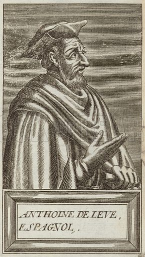 Anthoine de Leve, French writer. Published in Portraits and Lives of Illustrious Men, by Andre Thevet, Paris, 1584, engraved by Thomas Campanella De Laumessin.