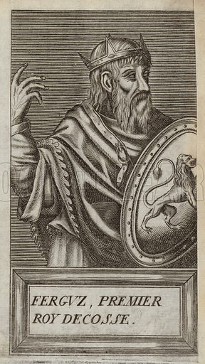 Fergus of Galloway, 12th century king, a Lord of Galloway, who became well established by the middle of the 12th century by having a powerful dynasty over southwestern Scotland. Published in Portraits and Lives of Illustrious Men, by Andre Thevet, Paris, 1584, engraved by Thomas Campanella De Laumessin.