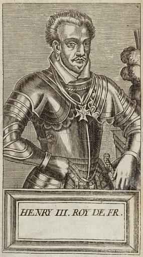 Henry III of France, King of France. Published in Portraits and Lives of Illustrious Men, by Andre Thevet, Paris, 1584, engraved by Thomas Campanella De Laumessin.