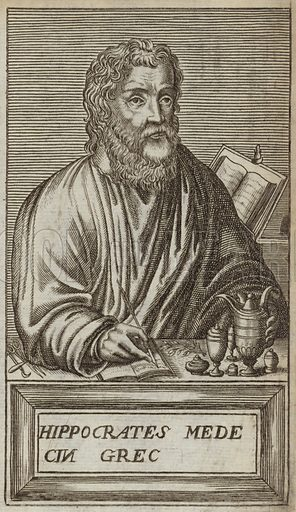 Hippocrates of Cos, ancient Greek physician. Published in Portraits and Lives of Illustrious Men, by Andre Thevet, Paris, 1584, engraved by Thomas Campanella De Laumessin.