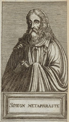 Symeon the Metaphrast, author of the ten-volume medieval Greek menologion, or collection of saint's lives. Published in Portraits and Lives of Illustrious Men, by Andre Thevet, Paris, 1584, engraved by Thomas Campanella De Laumessin.
