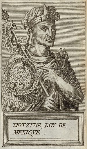 Moctezuma I, fifth Aztec emperor and king of Tenochtitlan. Published in Portraits and Lives of Illustrious Men, by Andre Thevet, Paris, 1584, engraved by Thomas Campanella De Laumessin.