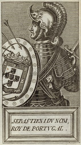 Sebastian I, King of Portugal and the Algarves, and the penultimate Portuguese monarch of the House of Aviz. Published in Portraits and Lives of Illustrious Men, by Andre Thevet, Paris, 1584, engraved by Thomas Campanella De Laumessin.