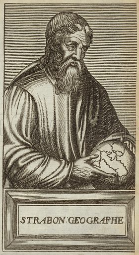 Strabo, Greek geographer, philosopher and historian. Published in Portraits and Lives of Illustrious Men, by Andre Thevet, Paris, 1584, engraved by Thomas Campanella De Laumessin.