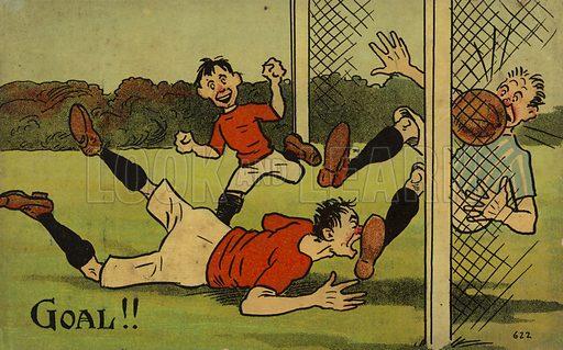 Cartoon depicting a footballer scoring a goal