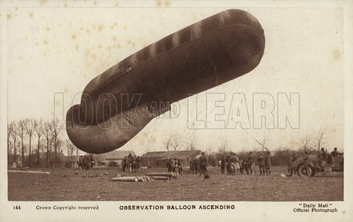 Observation balloon ascending, World War I.