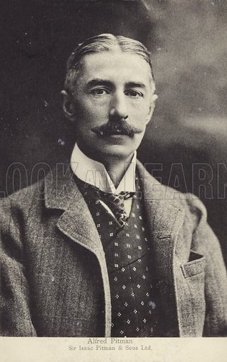Alfred Pitman, British businessman. Took over the running of Isaac Pitman & Sons, the company which published manuals and provided training in Pitman shorthand, in 1895.