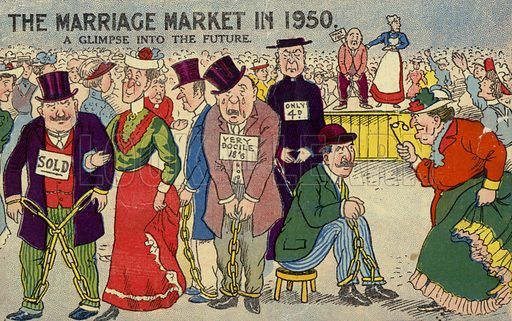 The Marriage Market in 1950. Anti-suffragette postcard.