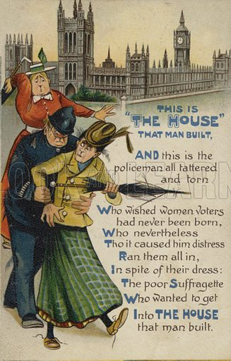 This is the House that Man Built. Anti-suffragette postcard.
