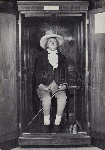 Jeremy Bentham, embalmed body at University College, London.