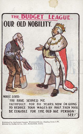 Our Old Nobility. Card published by the Budget League.