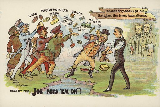 Joe puts 'em on. Anti-free trade postcard.