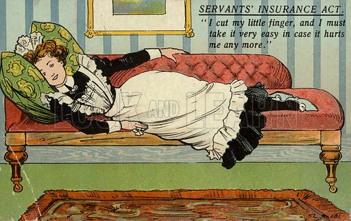 """""""I cut my little finger, and I must take it very easy in case it hurts me any more"""". Postcard opposing the National Insurance Act, introduced by David Lloyd George in 1911."""