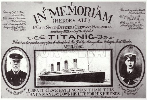 RIP in Memoriam. Postcard of Titanic with portraits of Captain EJ Smith and John George Phillips.