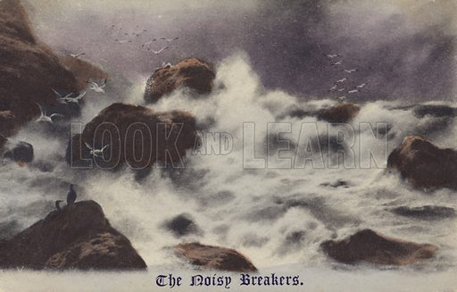 The Noisy Breakers. Postcard of rough sea.