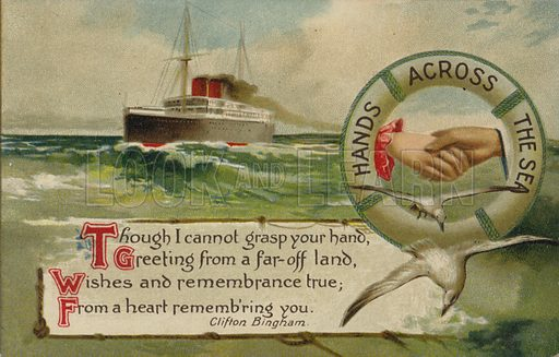 Hands across the Sea postcard with a verse from Clifton Bingham.