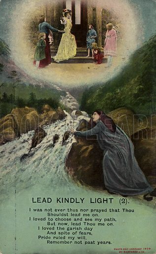 Lead Kindly Light. Vintage song card by Bamforth publish in 1909.