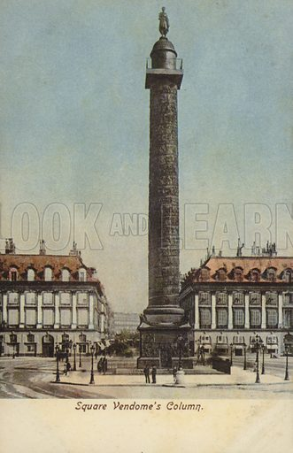 Square Vedone's column, Place Vendome. The original Vendôme Column at the center of the square was erected by Napoleon I to commemorate the battle of Austerlitz; it was torn down on 16 May 1871, by decree of the Paris Commune, but subsequently re-erected.