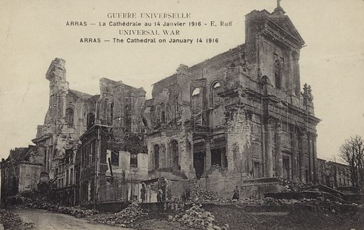 Arras Cathedral, the bombed ruins of the cathedral in Arras France during World War I. Photographed 14 January 1916.