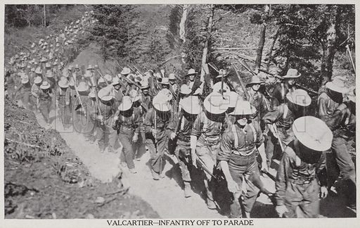 Val Cartier-Infantry off to Parade 1915. Military postcard showing the largest military camp ever to be seen on Canadian soil was established at Valcartier, about 16 miles to the west of Quebec City.